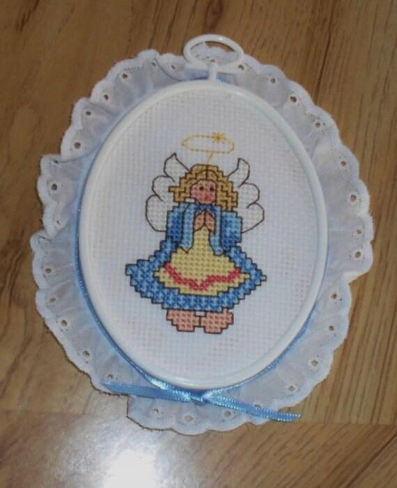 Cross Stitch Angel Finished Completed Framed Blue