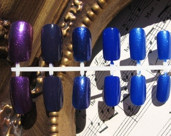 Blue and Purple False Nails