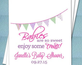 Personalized Favor Bags - Babies Are So Sweet Enjoy Some Treats! - Baby Shower Favor bags, Candy Buffet, Candy Bags, Sweets  - Set of 25