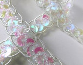 White AB 1/2 Inch Sparkly Holographic Scalloped Edge Sequined Trim