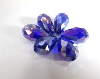 6 Royal Blue and Violet AB 14mm x 10mm or 7mm x 5mm Faceted Crystal Teardrop Jewelry Beads