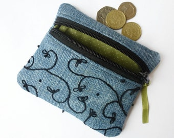 Embroidered denim coin purse, zipped card pouch (D)