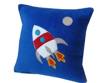 Blue space rocket fleece cushion applique pillow kid's cushion