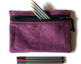 Pencil case / zipper pouch /cosmetic bag Purple corduroy and Turquoise