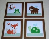 Set of 4 (Forest Friends/Tree Tops/Woodland Animals) Wood Plaques Nursery Decor Wall Art So Cute