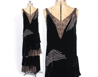 Vintage 20s Evening DRESS / 1920s Black Silk VELVET & Lace RHINESTONES Nude Illusion Gatsby Flapper Dress S