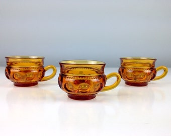 Set of Three Amber Glass Tea Cups, Coffee Cups, Dessert Cups, Early American Decor