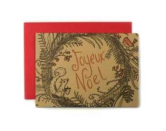 6 pack Joyeux Noel Woodland Wreath Holiday card, letterpress printed, eco friendly