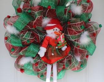 Outdoor door decoration, front door wreath, Mesh Christmas wreath, Christmas wreath, snowman wreath, mesh wreath, outdoor wreath