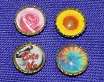 Bottlecap Magnet - Stocking Stuffer Repurposed Materials - Flower, Tie Dye