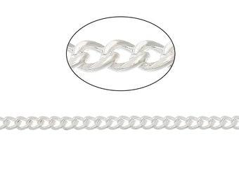 Silver Plated Bulk Chain 32 Feet Curb Chain 3mm x 2mm - FD262