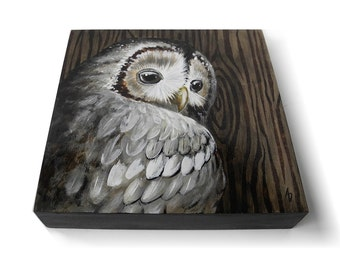 Hoot owl art, wood grain painting with grey owl, woodland owl painting, realistic nature scene, woodland decor, neutral color art