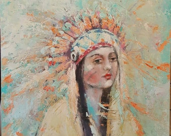 original native american indian portrait oil painting  k d milstein fadedwest