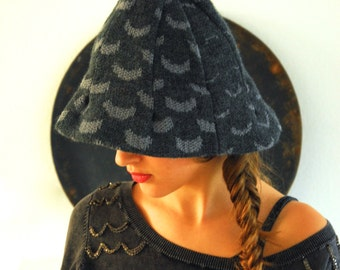 knitted hat SMILLA, beanie, wool, grey, dotted