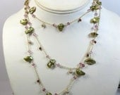 Keishi Pearl & Gemstone Necklace, Long Green Pearl and Gem Necklace w 14kt Goldfill Wirewrap Garnet Necklace, Long Elegant Necklace