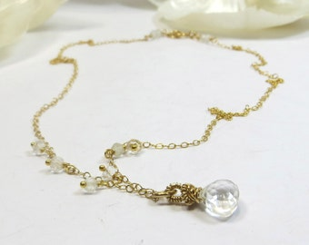 White Topaz Necklace, Dainty Tiny Faceted White Topaz Drop Wirewrapped Necklace with 14KT Goldfill, White Ice Necklace, Handmade Necklace