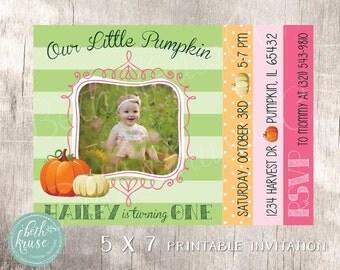 Our Little Pumpkin 5x7 Invitation by Beth Kruse Custom Creations
