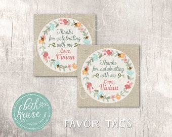 Floral Pumpkin Personalized Printable Favor Tags  by Beth Kruse Custom Creations