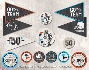 Football Championship Printable Party Instant Download by Beth Kruse Custom Creations