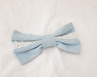 bowtie, denim, safety pin closure