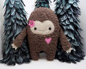 Big Foot plush stuffed toy for girls in pink, kawaii big foot plush, big foot stuffed toy, monster stuffed animal, girlie monster, sasquatch