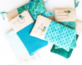 Bridesmaid Clutch, Teal Wedding, Personalized Monogram Clutch, Bridesmaid Gift Ideas, Custom Made in Wedding Colors, MADE TO ORDER