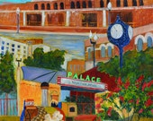 Downtown Bryan print of acrylic painting