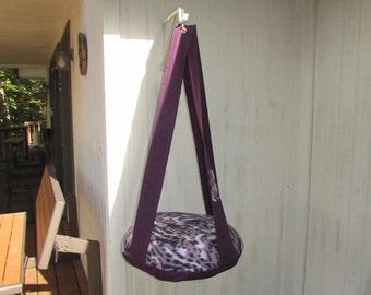 Cat Bed, Fleece Purple Wild Thing Animal Print Kitty Cloud, Single Hanging Cat Bed, Pet Furniture, Pet Gift