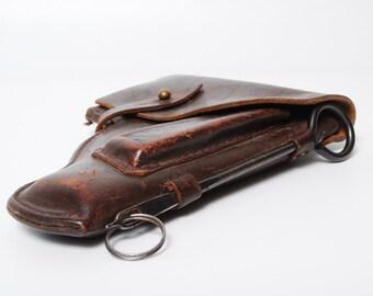 Vintage leather holster, gun holder for PM Makarov pistol, officer, from Soviet Union, USSR.