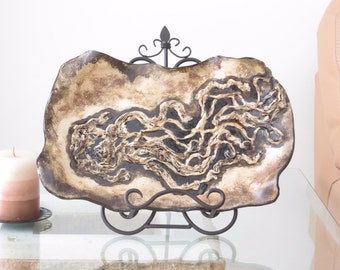 Abstract Sculpted Ceramic Fine Art Tray Earth Tone Contemporary clay Centerpiece Modern Decorative Dish Pottery Art Vessel Home Decor Plate