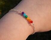 Gay Pride LGBT Pride Rainbow Jade and Carnelian Bracelet - LGBTQ Pride