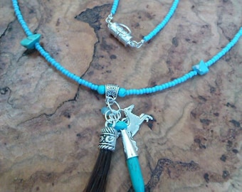 Beaded horse hair necklace