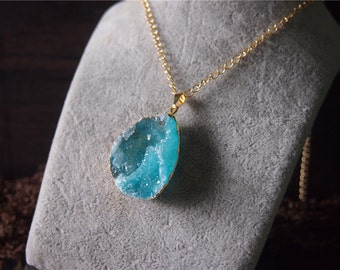 Raw Gemstone Druzy Drusy Pendant Necklace Blue Gem Necklace 11476