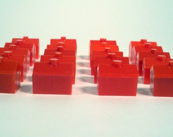 20, Monopoly Hotels, Red, Game Pieces, Craft Supplies