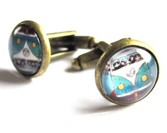 Camper Van Cufflinks Blue Caravan Men Jewelry