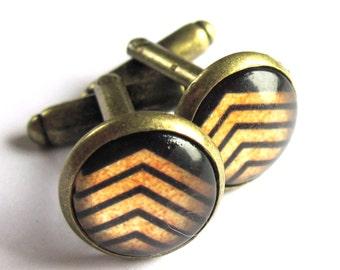Black Cufflinks Chevron Striped Men Jewelry