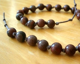 Red Picture Jasper Meditation Chain, 27 Beads, Quarter Mala, Prayer Beads, Counting Breaths, Worry Beads / Meditating / Breathing Beads