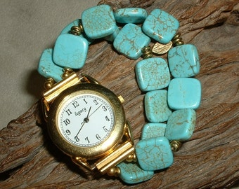 Unique Turquoise Blue Magnasite Bracelet with Large Gold Watch