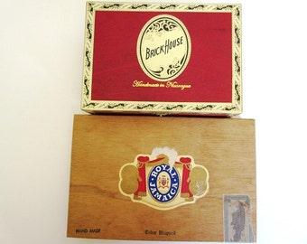 2 Wood Cigar Boxes, Brick House Robusto, Royal Jamaica, Vintage