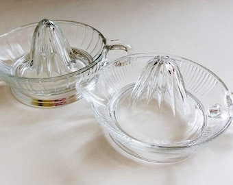 2 Clear Glass Citrus Reamer Juicers with Handle Vintage