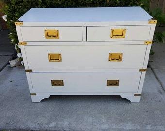Campaign Dresser, Mid Century Modern, Drexel,  High Gloss Custom Dresser CAN SHIP within a Week!