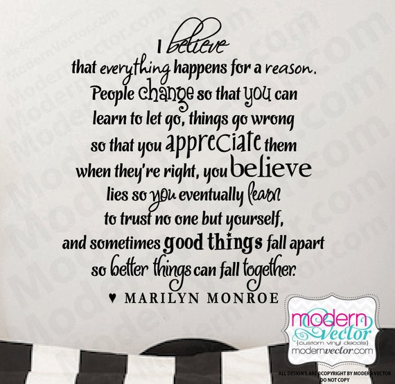 Short Marilyn Monroe Quotes: MARILYN MONROE Quote Vinyl Wall Decal I BELIEVE By
