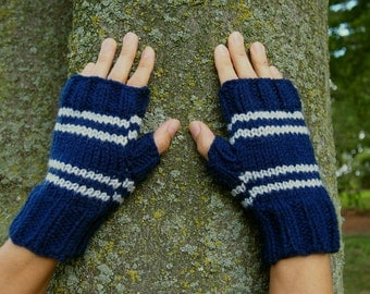 Harry Potter Inspired Ravenclaw Fingerless Gloves - Texting Gloves - Wristwarmers - Blue & Silver Grey Stripes Hand Knit Fingerless Mittens