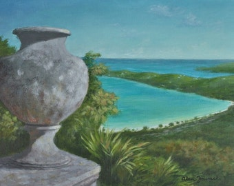 Caribbean Landscape Painting of Magens Bay, St. Thomas, US Virgin Islands - Free Shipping