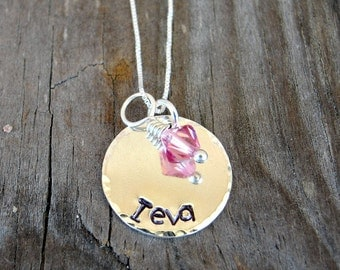 Little Girl Jewelry - Personalized Necklace - Children's Jewelry - Birthstone necklace - Child's Necklace - Handstamped Necklace
