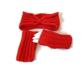 Womens Red Headband, Knit Headband, Turban Headband, Matching Gloves, Fingerless Gloves, Red Mittens