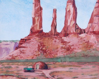 Navajo hogan under the Three Sisters rock formation, Monument Valley, watercolor reproduction, signed, collectable