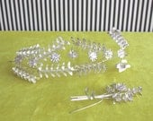 Antique German Wedding Tiara AND Matching Boutonnière Silver Myrtle