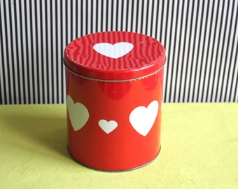 Vintage Red Tin Canister with Heart Pattern