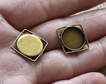 6 pcs Antique bronze square pendant round pendant tray (Cabochon size 12 mm),bezel charm findings,lacework findings,cabochon blank finding